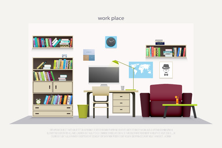 wooden furniture: contemporary work place with wooden furniture and professional tools.  flat style office interior. elegant workspace illustration. lifestyle and working concept, apartment decoration