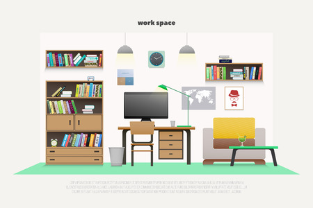 wooden furniture: contemporary work place with wooden furniture and professional tools.  flat style office interior design. elegant workspace illustration. lifestyle and working concept, apartment decoration