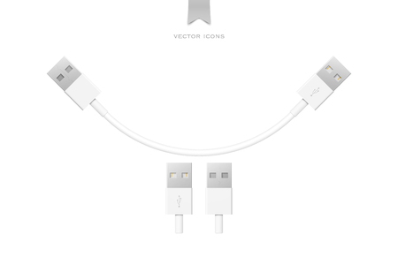 peripherals: set of usb interface cables isolated on white background. universal serial bus 3d icons design. computer peripherals connector or smartphone recharge supply