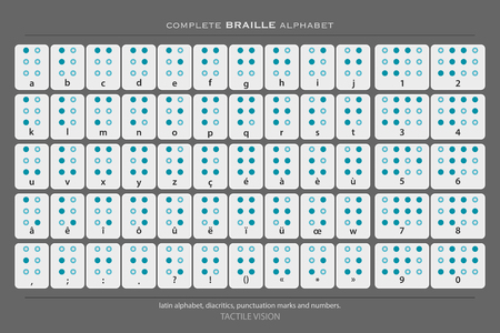 tactile: full Braille alphabet poster with latin letters, numbers, diacritics and punctuation marks isolated on gray background. tactile aid signs. language transltion banner, assistance concept