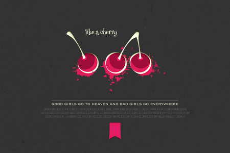 purity: set of colorful cherry icons isolated on black background. fresh fruit banner design. cool, delicious natural product branding, package template. purity concept illustration Illustration