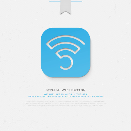 application button: blue application button style wireless icon. isolated radio wave symbol. free internet connection zone sign. technology concept template Illustration