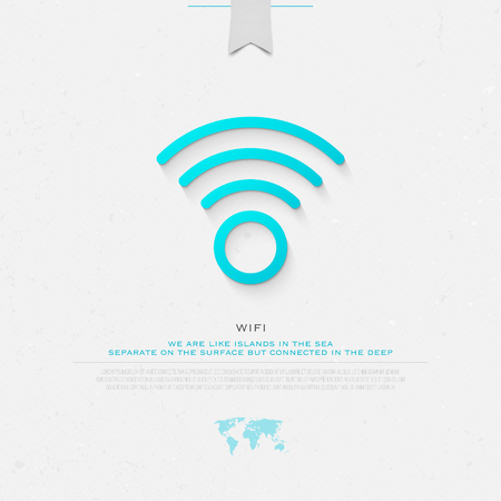 new thin line style wireless icon. isolated radio wave symbol. free internet connection zone sign. technology concept with world map and banner template Illusztráció