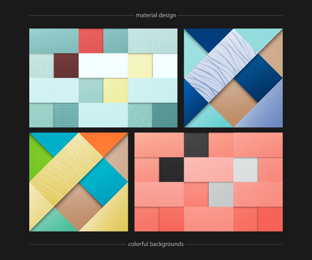 set of abstract, colorful backgrounds. geometric, fashion wallpaper templates. material design backdrops collection. origami style,  business cards layout