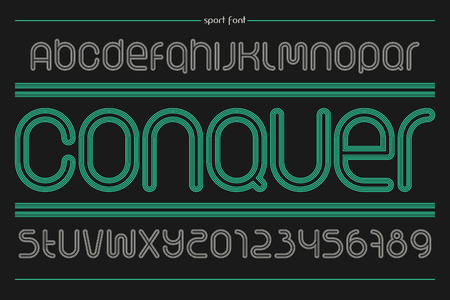 racecourse: set of sport style alphabet letters and numbers isolated on black background.  dynamic, stylish font type design. running track concept typesetting. athletic sports competition typeface Illustration