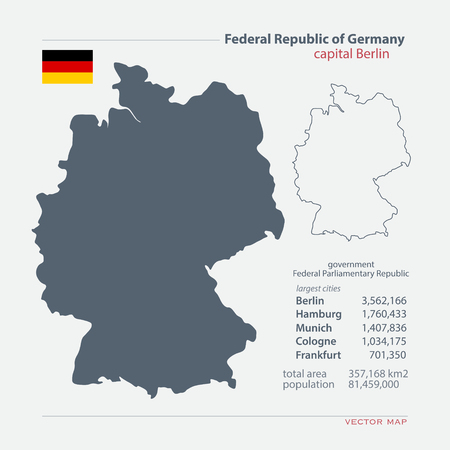 deutschland: Federal Republic of Germany isolated maps and official flag icon. German political map icons with general information. European State geographic template. Deutschland