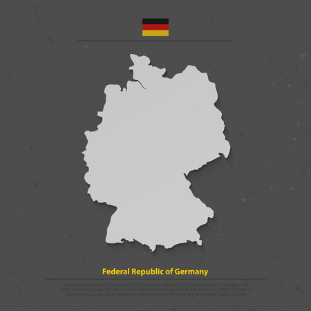 federal republic of germany: Federal Republic of Germany map and official flag icon over dark background. vector German political map 3d illustration. European State geographic banner template. Deutschland