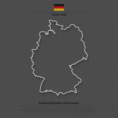 deutschland: Federal Republic of Germany map outline and official flag icon over grunge background. German political map 3d illustration. European State geographic template. Deutschland Illustration