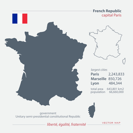 geographic: French Republic isolated maps and official flag icon. France political map icons with general information. European State geographic  template.
