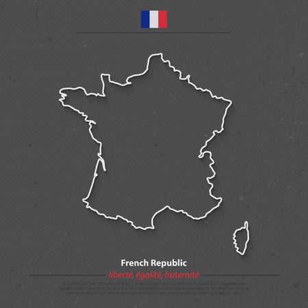 corsica: French Republic map outline and official flag icon over grunge background. France political map 3d illustration. European State geographic template. Corsica island