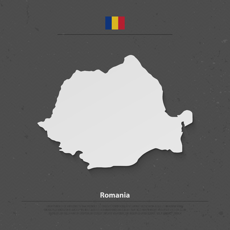 Romania map and official flag icons over grunge background. Romanian political map 3d illustration. European State geographic template. travel and business concept