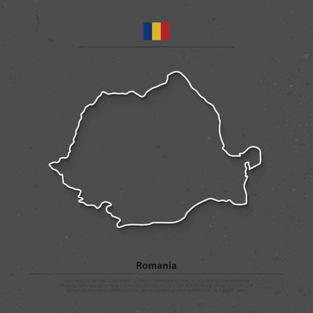 romanian: Romania map and official flag icons over grunge background. Romanian political map contour. European State geographic template. travel and business concept