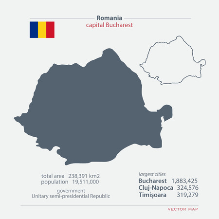 romanian: Romania isolated maps and official flag icon. Romanian political map icons with general information. European State geographic template. travel and business concept