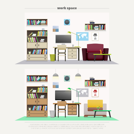 work places: set of contemporary work places with wooden furniture and professional tools. vector, flat style office interior design. elegant workspace illustration. lifestyle and working concept, apartment decoration Illustration