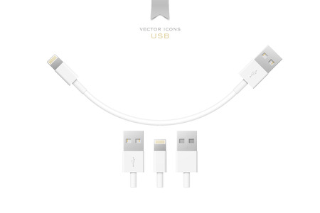 peripherals: set of usb interface cables isolated on white background. vector universal serial bus 3d icons design. computer peripherals connector or smartphone recharge supply