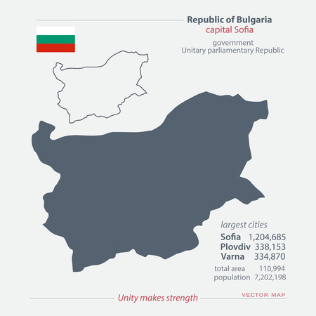 bulgarian: Republic of Bulgaria isolated maps and official flag icon. vector Bulgarian political map icons with general information. European State geographic banner template. travel and business concept map Illustration