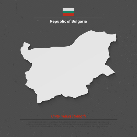 bulgarian: Republic of Bulgaria map and official flag over grunge background. vector Bulgarian political map 3d illustration. European State geographic banner template. travel and business concept map
