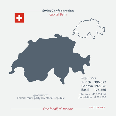 confederation: Swiss Confederation isolated maps and official flag icon. vector Swiss political map icons with general information. Switzerland geographic banner template. travel and business concept map Illustration