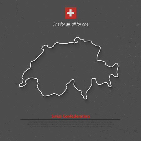 confederation: Swiss Confederation map and official flag over grunge background. vector Switzerland political map 3d illustration. European State geographic banner template. travel and business concept map