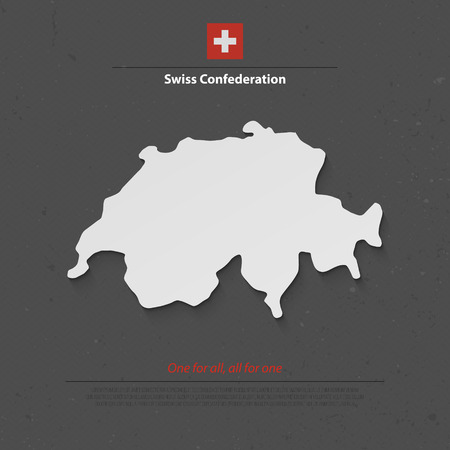 europe flag: Swiss Confederation map and official flag over grunge background. vector Switzerland political map 3d illustration. European State geographic banner template. travel and business concept map