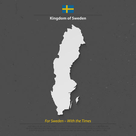 geographic: Kingdom of Sweden isolated map and official flag icon. vector Swedish political maps 3d illustration. Swede geographic banner template. travel and business concept map