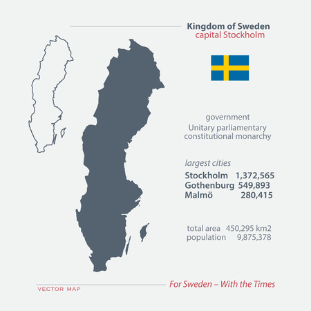 swede: Kingdom of Sweden isolated maps and official flag icon. vector Swedish political map icons with general information. Swede geographic banner template. travel and business concept map