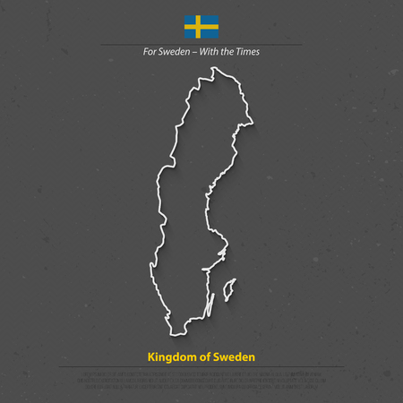 swede: Kingdom of Sweden isolated map and official flag icon. vector Swedish political maps 3d illustration. Swede geographic banner template. travel and business concept map