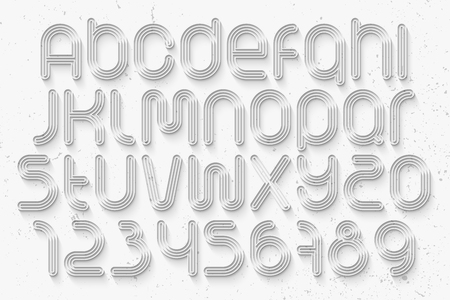 typesetting: set of sport style alphabet letters and numbers over white background. vector, 3d font type design. running track concept typesetting. thin line and long shadow typeface Illustration