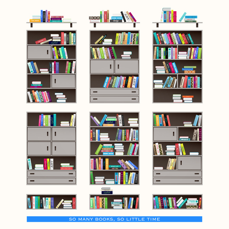 bookshop: set of modern interior shelf icons isolated on white background. vector wooden furniture and colorful books collection. education and learning concept. flat style bookstore design elements Illustration