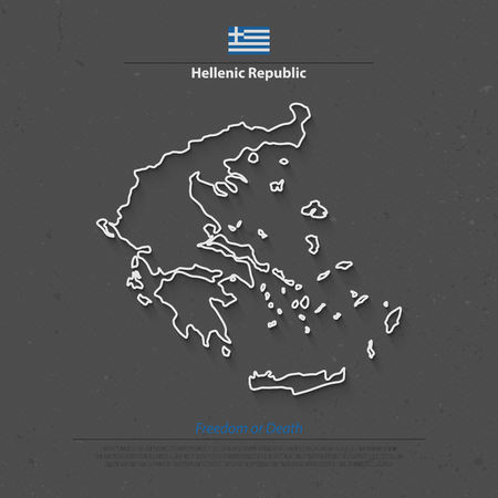 aegean: Hellenic Republic isolated map and official flag icons. vector Greece political map thin line icon. European country geographic banner template Illustration