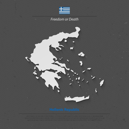 Hellenic Republic isolated map and Greek official flag icons. vector Greece political map 3d illustration. European country geographic banner template