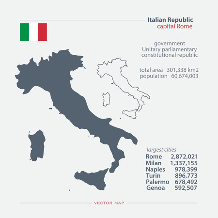 mediterranean: Italian Republic isolated maps and official flag icon. vector Italy political map icons with general information. Mediterranean, European country geographic banner template