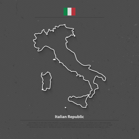 Italian Republic isolated map and official flag icons. vector Italy political map thin line icon. Mediterranean, European country geographic banner template
