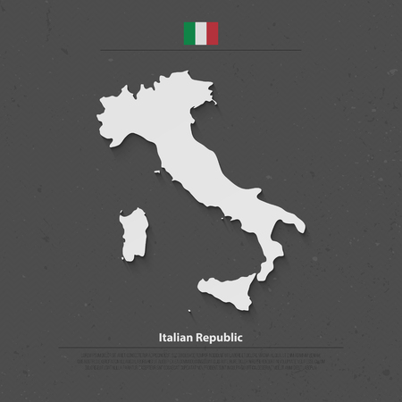 mediterranean: Italian Republic isolated map and official flag icons. vector Italy political map 3d style illustration. Mediterranean, European country geographic banner template