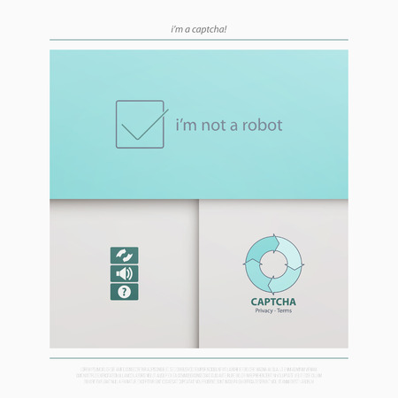 attempts: Captcha is a Completely Automated Public Turing test to tell Computers and Humans Apart. vector technology icons. internet security concept material design banner. web login button Illustration