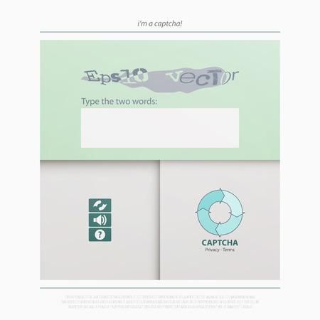 Captcha is a Completely Automated Public Turing test to tell Computers and Humans Apart. vector technology icons. internet security concept material design banner. website app button Illustration