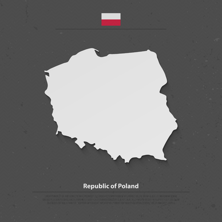geographic: Republic of Poland isolated map and official flag icons. vector Polish political map 3d illustration. European country geographic banner template