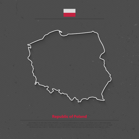 polish flag: Republic of Poland isolated map and official flag icons. vector Polish political map thin line icon. European country geographic banner template Illustration