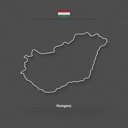 central europe: Republic of Hungary isolated map and official flag icons. vector Hungaian political map outline. Central Europe country geographic banner template