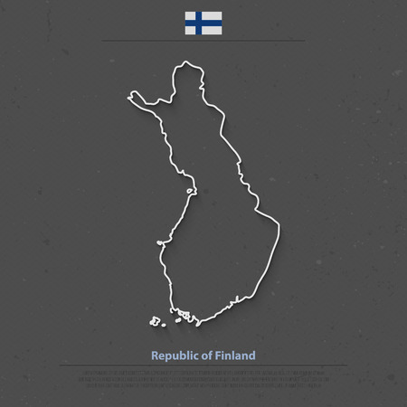 geographic: Republic of Finland isolated map and official flag icons. vector Finnish political map outline. Suomi geographic banner template. travel and business concept map
