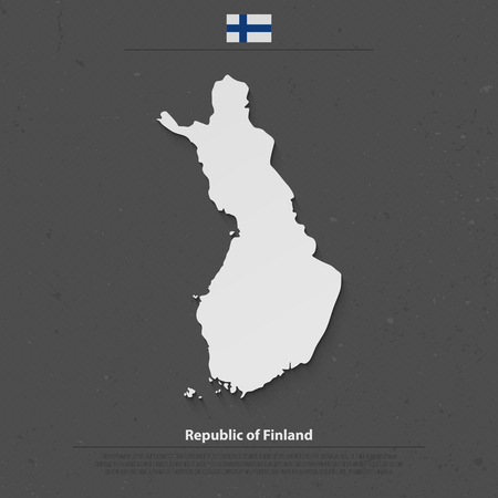 suomi: Republic of Finland isolated map and official flag icons. vector Finnish political map 3d illustration. Suomi geographic banner template. travel and business concept map
