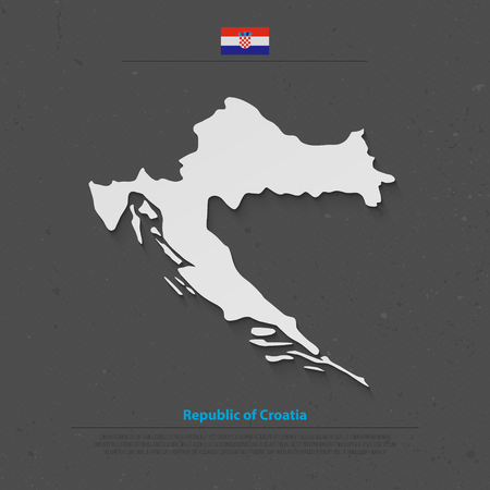 Republic of Croatia isolated map and official flag icons. vector Croatian political map 3d illustration. Central Europe country geographic banner template Illustration