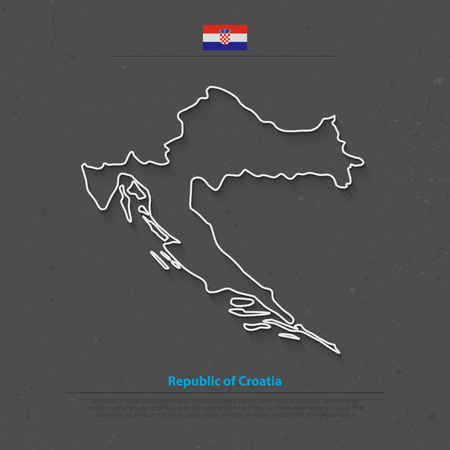 balkans: Republic of Croatia isolated map and official flag icons. vector Croatian political map outline. Balkans country geographic banner template