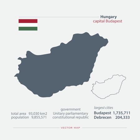 general maps: Republic of Hungary isolated maps and official flag icon. vector Hungaian political map icons with general information. European country geographic banner template Illustration