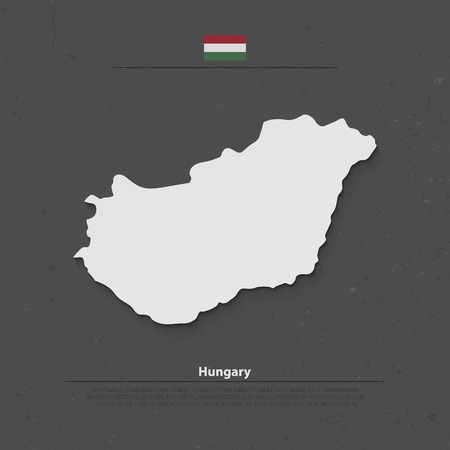 central europe: Republic of Hungary isolated map and official flag icons. vector Hungaian political map 3d illustration. Central Europe country geographic banner template Illustration