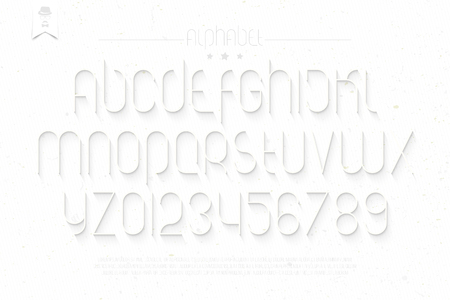 typesetting: set of round thin line style alphabet letters and numbers on white background. vector font type design. modern commercial lettering icons. stylized   text typesetting. contemporary typography template