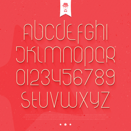 typesetting: set of round thin line style alphabet letters and numbers on paper background. vector font type design. modern commercial lettering icons. stylized   text typesetting. contemporary typography template