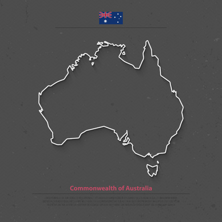 aussie: Commonwealth of Australia isolated map and official flag icons. vector Australian political continent thin line map. Aussie geographic banner template. travel and business concept Illustration