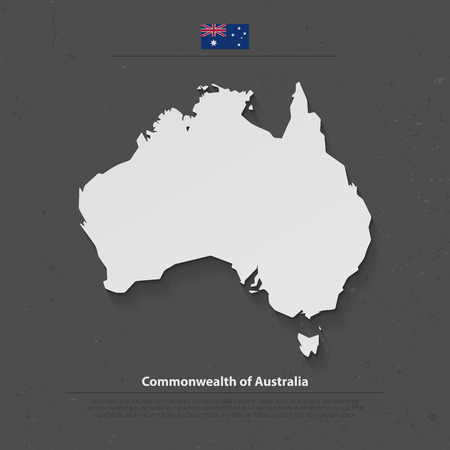 aussie: Commonwealth of Australia isolated map and official flag icons. vector Australian political continent 3d illustration map. Aussie geographic banner template. travel and business concept