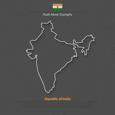 south asia: Republic of India isolated map and official flag icons. vector Indian political map thin line style illustration. South Asia country geographic banner template. travel and business concept map Illustration